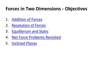 Forces  in Two  Dimensions - Objectives