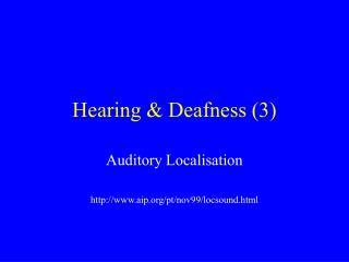 Hearing & Deafness (3)