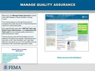 MANAGE QUALITY ASSURANCE