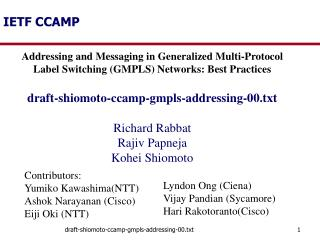 IETF CCAMP