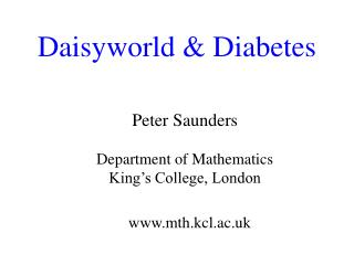 Daisyworld & Diabetes