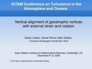 IUTAM Conference on Turbulence in the Atmosphere and Oceans