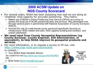 2009 ACSM Update on NGS County Scorecard