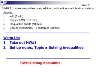Agenda WU (5 min) Review HW#1 (10 min) Inequalities charts (10 min)