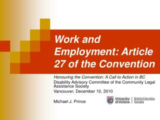 Work and Employment: Article 27 of the Convention