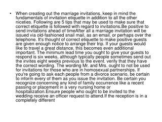 When creating out the marriage invitations