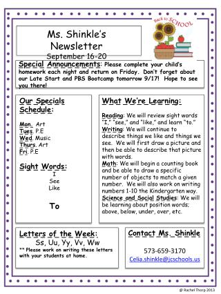Ms.  Shinkle's  Newsletter September  16-20