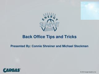 Back Office Tips and Tricks