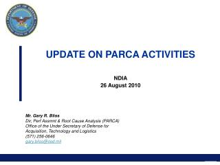 UPDATE ON PARCA ACTIVITIES NDIA 26 August 2010