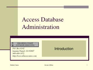 Access Database Administration