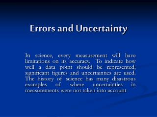 Errors and Uncertainty
