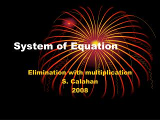 System of Equation