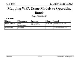 Mapping WFA Usage Models to Operating Bands