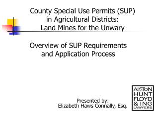 County Special Use Permits (SUP) in Agricultural Districts: Land Mines for the Unwary