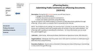 ePlanning Basics:  Submitting Public Comments on ePlanning Documents (1610-41)