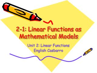 2-1: Linear Functions as Mathematical Models