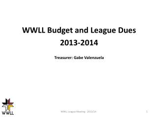 WWLL Budget and League Dues 2013-2014 Treasurer: Gabe Valenzuela