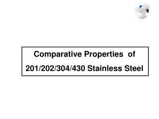 Comparative Properties  of  201/202/304/430 Stainless Steel