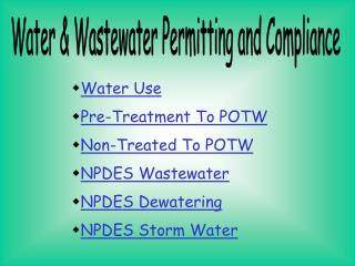 Water & Wastewater Permitting and Compliance