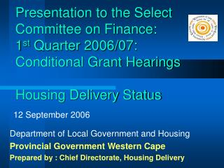 Department of Local Government and Housing Provincial Government Western Cape