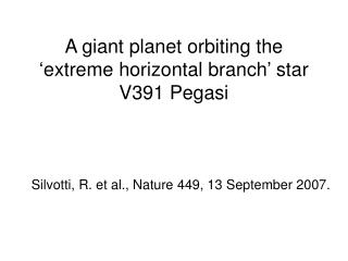 A giant planet orbiting the 'extreme horizontal branch' star V391 Pegasi