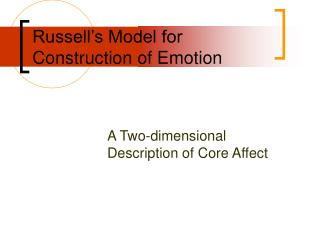 Russell's Model for Construction of Emotion