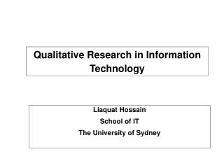 Qualitative Research in Information Technology