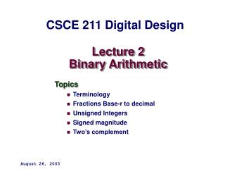Lecture 2 Binary Arithmetic