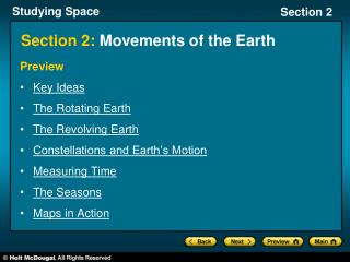 Section 2:  Movements of the Earth