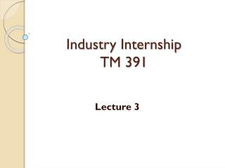 Industry Internship TM 391