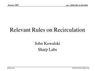 Relevant Rules on Recirculation