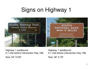 Signs on Highway 1