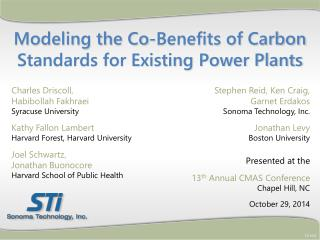 Modeling the Co-Benefits of Carbon Standards for Existing Power Plants