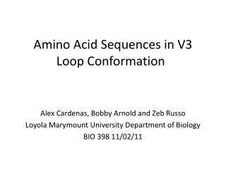 Amino Acid Sequences in V3 Loop Conformation