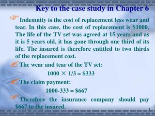 Key to the case study in Chapter 6