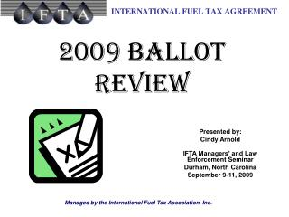 2009 Ballot Review