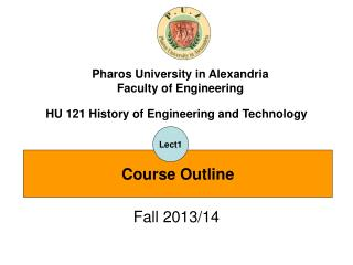 HU 121 History of Engineering and Technology