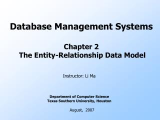 Database Management Systems Chapter 2  The Entity-Relationship Data Model