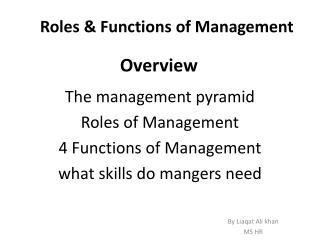 Roles & Functions of Management