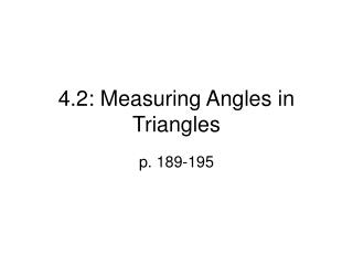 4.2: Measuring Angles in Triangles