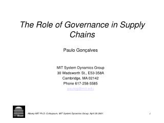 The Role of Governance in Supply Chains