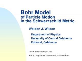 Bohr Model of Particle Motion In the Schwarzschild Metric