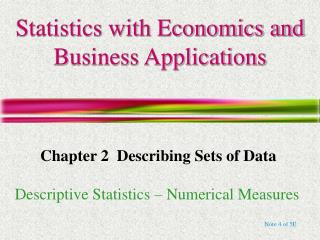 Statistics with Economics and Business Applications
