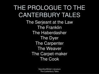 THE PROLOGUE TO THE CANTERBURY TALES