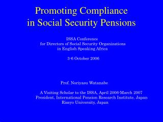 Promoting Compliance in Social Security Pensions