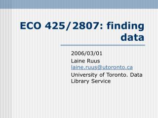 ECO 425/2807: finding data