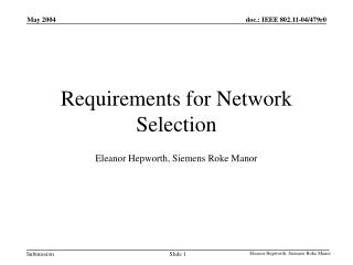 Requirements for Network Selection