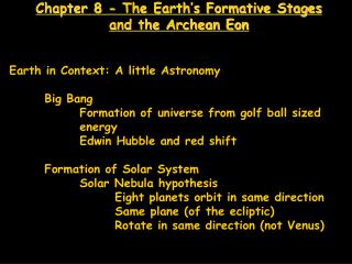 Chapter 8 - The Earth's Formative Stages and the Archean Eon