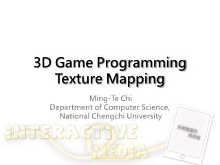 3D Game Programming Texture Mapping