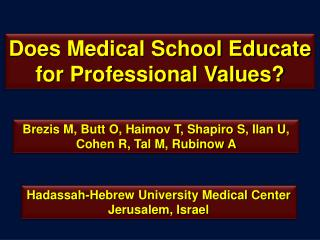 Does Medical School Educate for Professional Values?